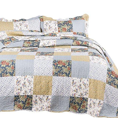 Bedsure Bedding Quilt Set Luxury Bedroom Bedspread Plaid Floral Patchwork Full/Queen Size 90x96 Microfiber Lightweight Vintage