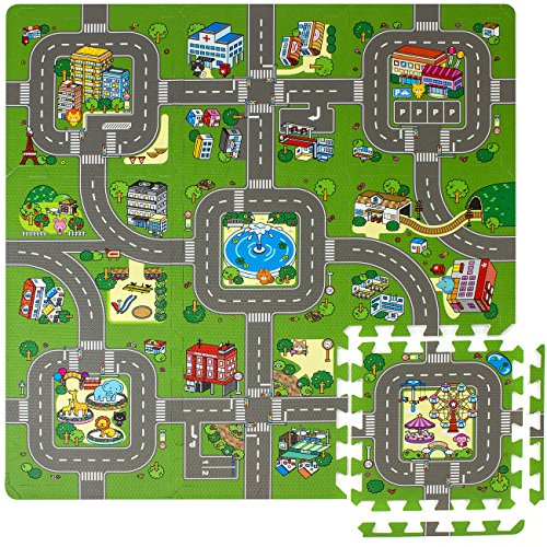 (Sorbus Traffic Play mat Puzzle Foam Interlocking Tiles – Kids Road Traffic Play Rug - Children Educational Playmat Rug Baby Play Set Mat - Great for Playing with Toy Cars Trucks (9 Tiles with Borders))
