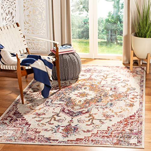 Safavieh Crystal Collection CRS501F Light Blue and Burgundy Area 5 x 8 Rug