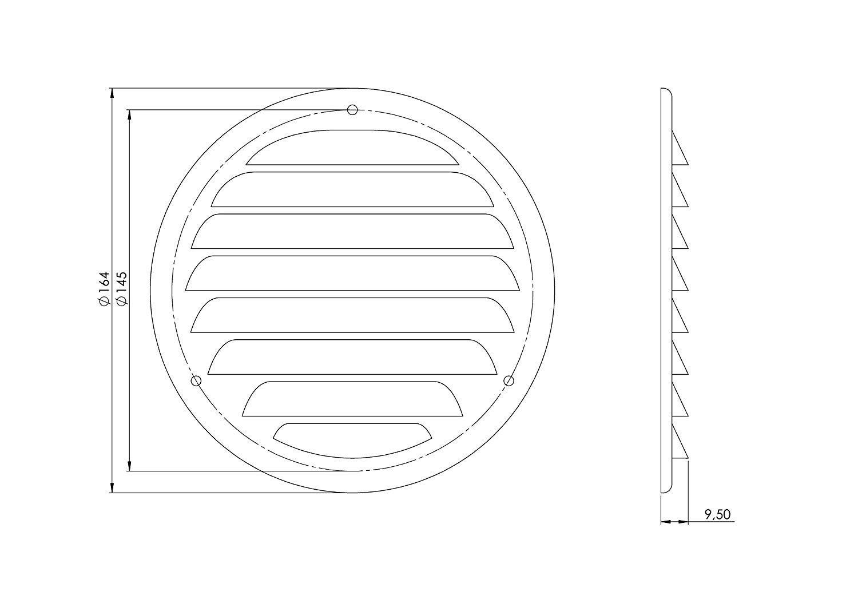 /Avec moustiquaire/ Haco Grille da/ération M/ét/éo Grille de protection/ //Ø 125/mm/ mr125 /M/étal Blanc