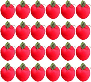 VOSAREA 24pcs Apple Ornaments Hanging Red Apples Xmas Tree Hanging Decor Holiday Wedding Party Supplies Favors 3cm