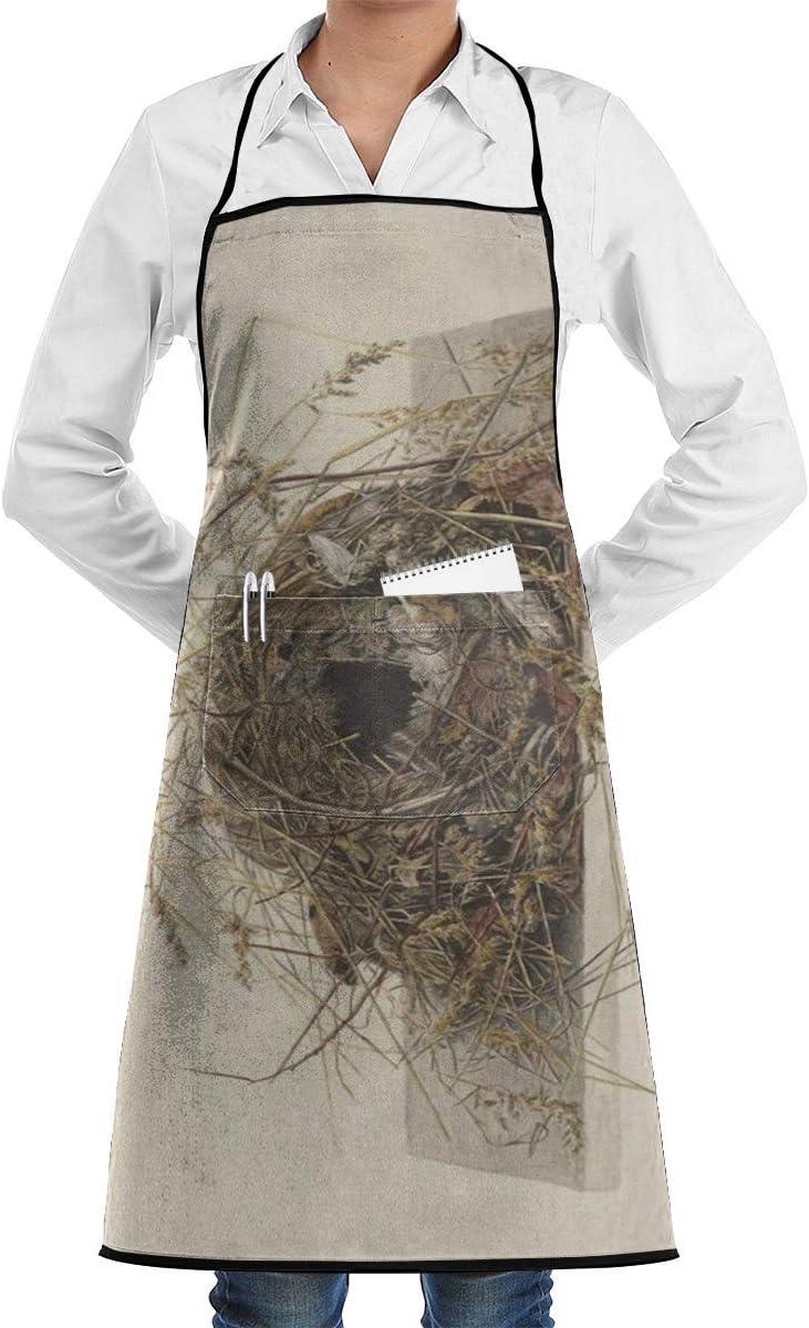 alice-shop Delantal Babero Nido de Pájaro Apuesto Impreso Cocina Ajustable Cocina Delantal de Chef con Bolsillo, Cocina Hornear Elaboración Jardinería y Barbacoa