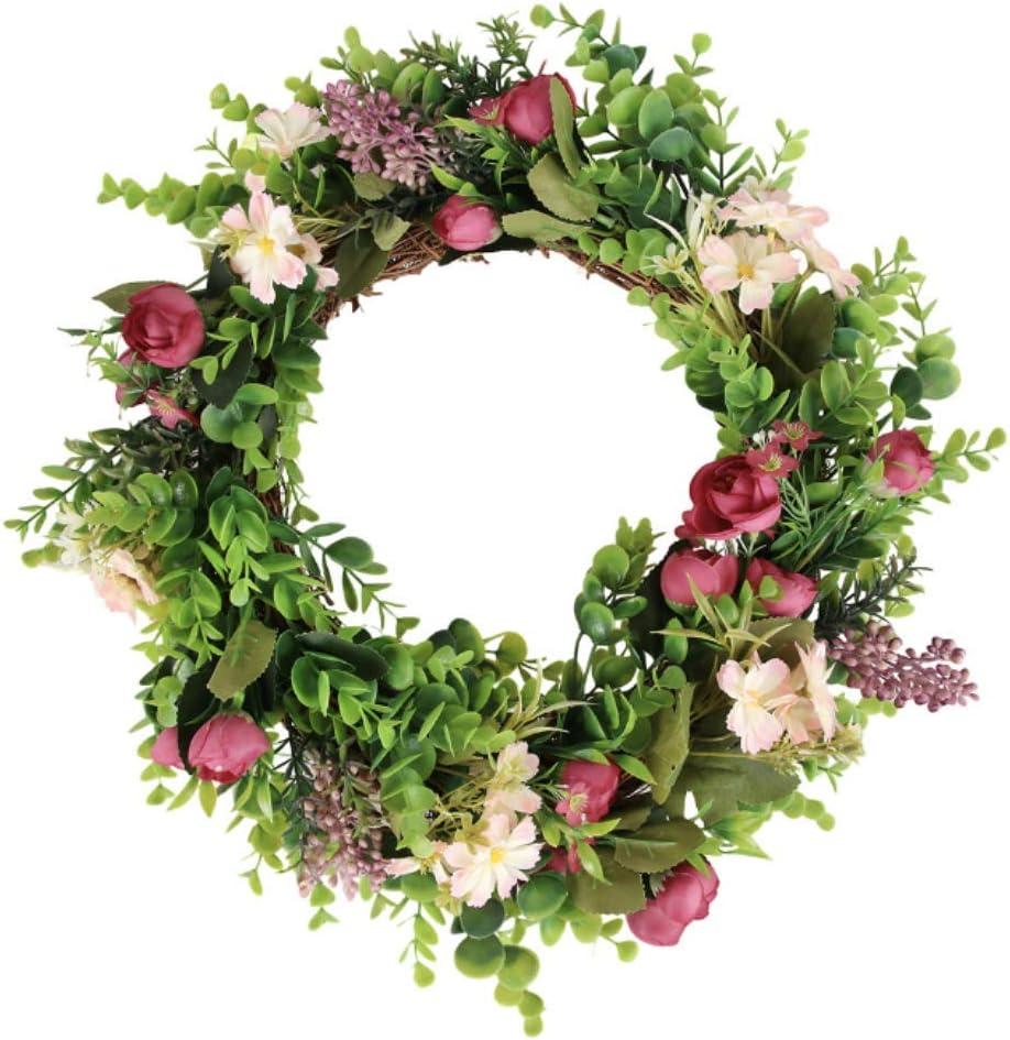 Wreath | Wreath Hanger for Front Door | Spring Wreath with Hook | Summer Wreath | Outdoor Wreath with Holder | Small Greenery Wreath | Artificial Green Wreaths | Magnolia Farmhouse Wall Decor (12inch)