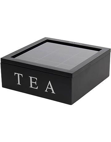 Tea Box – Rectangular Madera té Caja 6 Compartimiento transparente