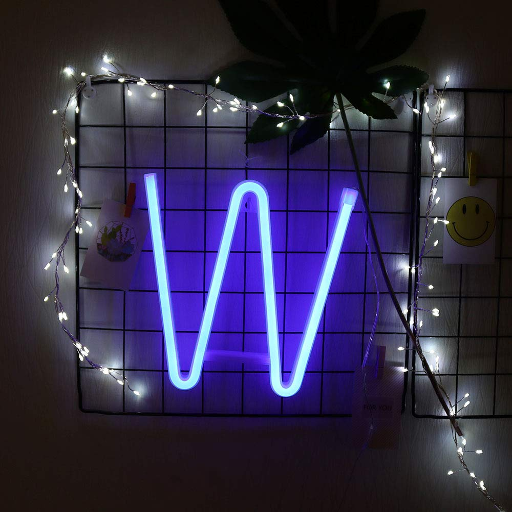 GUOCHENG Blue Neon Alphabet Letter Light LED Personalised Neon Sign Decorative Light up Words for Wedding Christmas Birthday Party Shopwindow Bar A