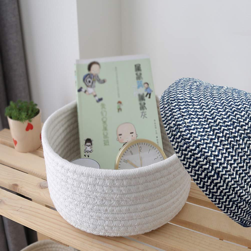 Wohnzimmer Inwagui Baby Aufbewahrungskorb Baumwollseil Weben Aufbewahrungsbox mit Deckel Kleine Deko Korb Organizer f/ür Kinderzimmer Kosmetik Gelb