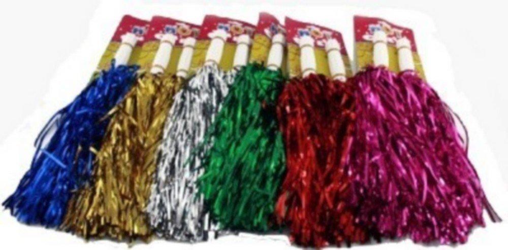 1 Paar Cheerleader Pom Poms Tanzwedel Puschel Tanzpuschel Wedel Pompoms in chrom silber NEU