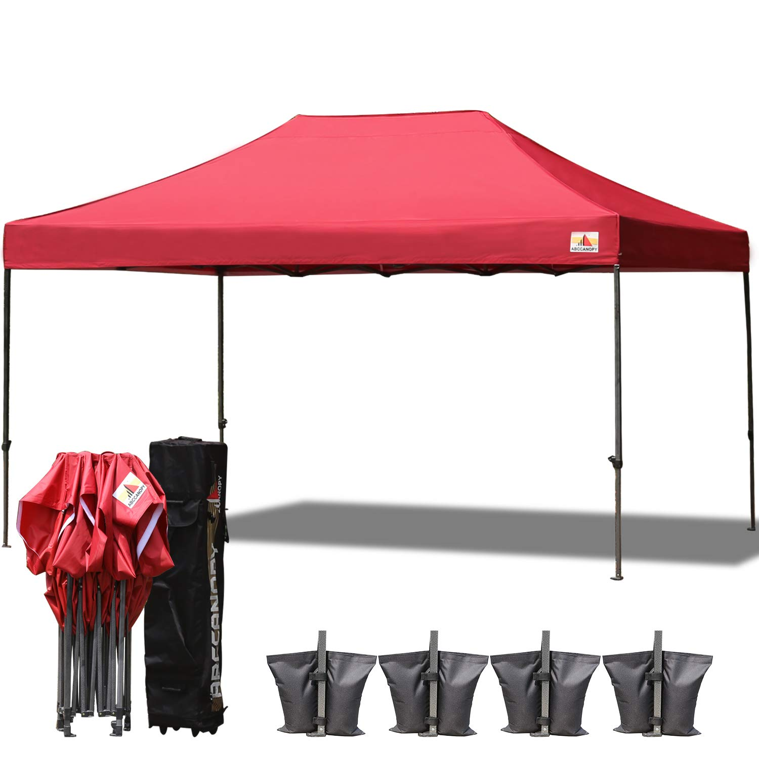 ABCCANOPY 23 Colors 10×15 Pop up Tent Instant Canopy Commercial Outdoor Canopy with Wheeled Carry Bag Bonus 4 Weight Bags Burgundy