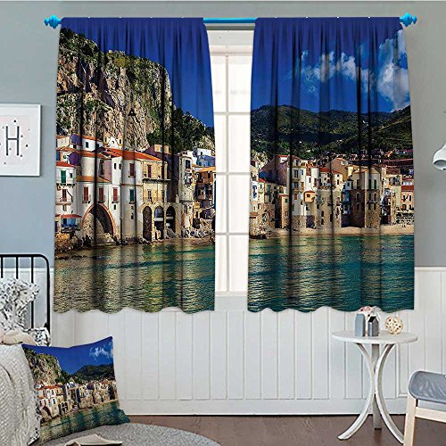 - Wanderlust Decor Collection Waterproof Window Curtain Cozy Old Houses in the Port of Cefalu Sicily Mediterranean Seaside Mountain Seascape Print Blackout Draperies For Bedroom 84