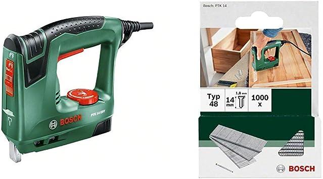 Bosch PTK 14 EDT - Grapadora eléctrica válida para grapas y clavos, 240 W, 240 V & 2 609 255 813 - Clavo tipo 48 (pack de 1000): Amazon.es: Bricolaje y herramientas