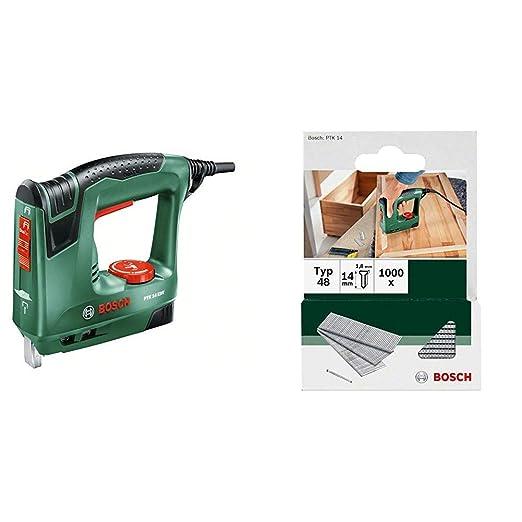 Bosch PTK 14 EDT - Grapadora eléctrica válida para grapas y clavos, 240 W, 240 V & 2 609 255 813 - Clavo tipo 48 (pack de 1000)