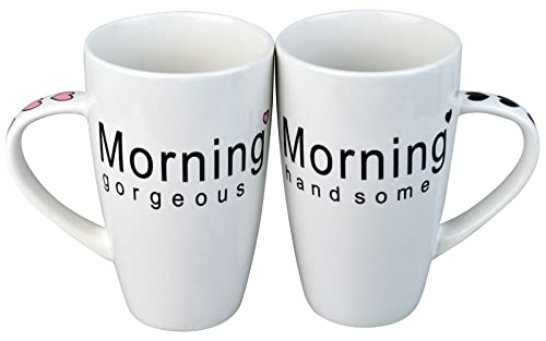 Rink Drink Ldquo;Morning Gorgeous/Handsomeu201d Coffee Mug Set, 410 Ml Capacity