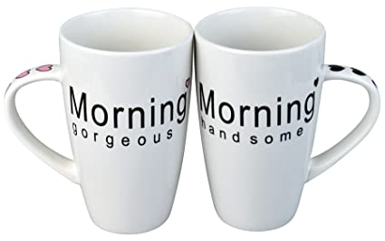 Rink Drink Morning Gorgeous Handsome Coffee Mug Set Gift Boxed