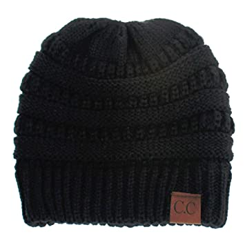 Cc Ponytail Messy Bun Beanie Hat With Elastic Top Hole Outdoor