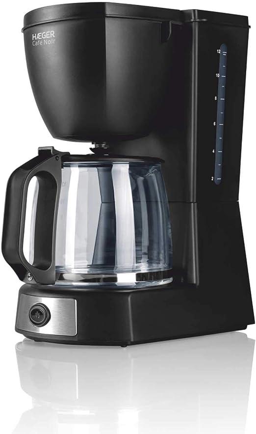 HAEGER CAFÉ Noir - Cafetera de Goteo, Capacidad 12 Tazas, 680W de Potencia, Placa calentado para Mantener el Calor, indicador de Nivel de Agua, Sistema Anti-Goteo, Jarra de Vidrio con Tapa articulada: