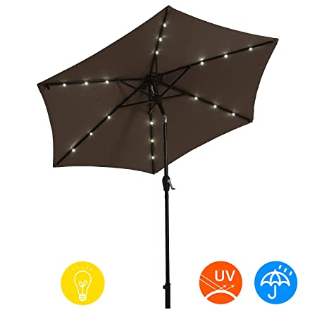 AI-LIN 9Ft Led Lighted Patio Table Umbrella Outdoor Umbrella with Push Button Tilt and Crank, 6 Steel Ribs, for Garden, Deck, Backyard, Swimming Pool Taupe