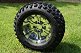 12'' VAMPIRE GUNMETAL/ Machined Golf Cart Wheels and All Terrain Golf Cart Tires Combo Set of 4