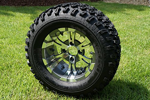 12'' VAMPIRE GUNMETAL/ Machined Golf Cart Wheels and All Terrain Golf Cart Tires Combo Set of 4 by Golf Cart Tire Supply