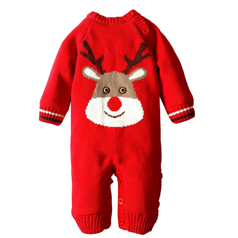 Robemon vêtement bébé Noël cerf Mignon Cadeau de Vacances Baby Chaud Barboteuse garçons Filles Sweater Capuchon Hoodies 6-18Mois