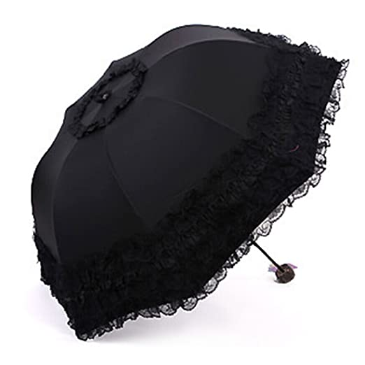 Victorian Parasols  Princess Lace Umbrella Folding Sun UV Protection Ultraviolet-proof Parasol $17.99 AT vintagedancer.com