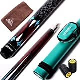 CUESOUL Billiards 58-Inch 23 Oz Canadian Maple Pool Cue Billiard Stick with Hard Pool Cue Billiard Stick Carrying Case TB05-13mm tip