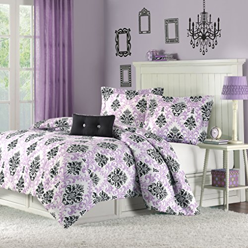 Mizone Katelyn 4 Piece Comforter Set, Full/Queen, Purple (Black And Purple Damask Bedding)