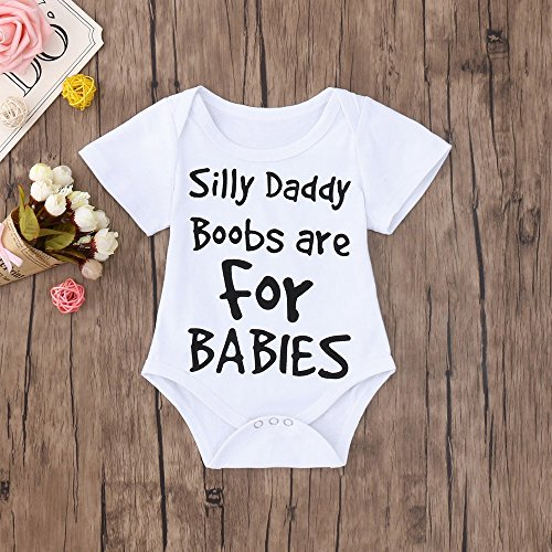 Clearance Sale 0-24 Months Newborn Infant Baby Kids Girl Boy Letter Print Romper Jumpsuit Sunsuit Outfits Clothes (White C, 18-24 Months) by Aritone - Baby Romper (Image #1)