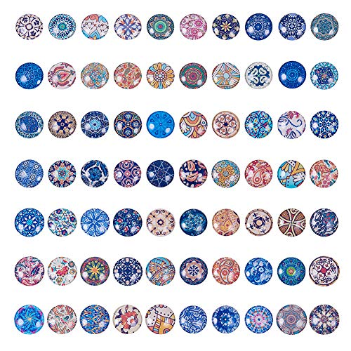 PH PandaHall 70pcs 70 Different Styles 25mm Mosaic Printed Picture Glass Half Round Dome Cabochons Tiles for Jewelry Making, Floral Series