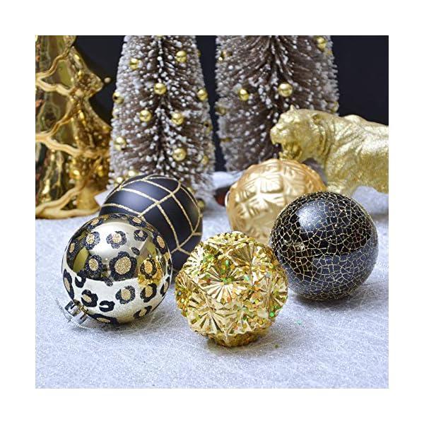 Valery Madelyn Palle di Natale 16 Pezzi 8 cm Palline di Natale, Festa Tropicale Dorata Ornamenti di Palla di Natale Infrangibili Neri e Dorati per la Decorazione Dell'Albero di Natale 6 spesavip