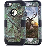 iPhone SE Case, 5s Case, HOcase Camouflage Series, Durable Silicone Bumper and Hard Polycarbonate Shock & Scratch Resistant Case for iPhone SE, iPhone 5s/5 - Camo+Black