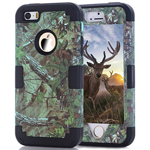 iPhone SE Case, 5s Case, HOcase Camouflage Series, Durable Silicone Bumper and Hard Polycarbonate Shock & Scratch Resistant Case for iPhone SE, iPhone 5s/5 - Camo+Black Camouflage Cover