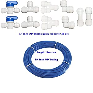 "YZM 10 pcs 1/4"" Quick Connect Push In to Connect Water Purifiers Tube Fittings for RO Water Reverse Osmosis System+10 meters(32 feet) tubing hose pipe . (blue tubing 10 meters)"