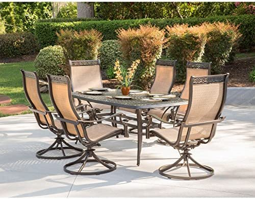 Hanover MANDN7PCSW-6 Chairs and Rectangle Cast Aluminum Table