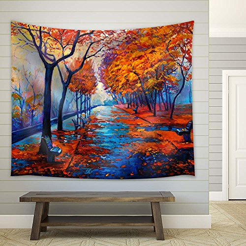 Oil Painting Style Trees on The Road in Autumn