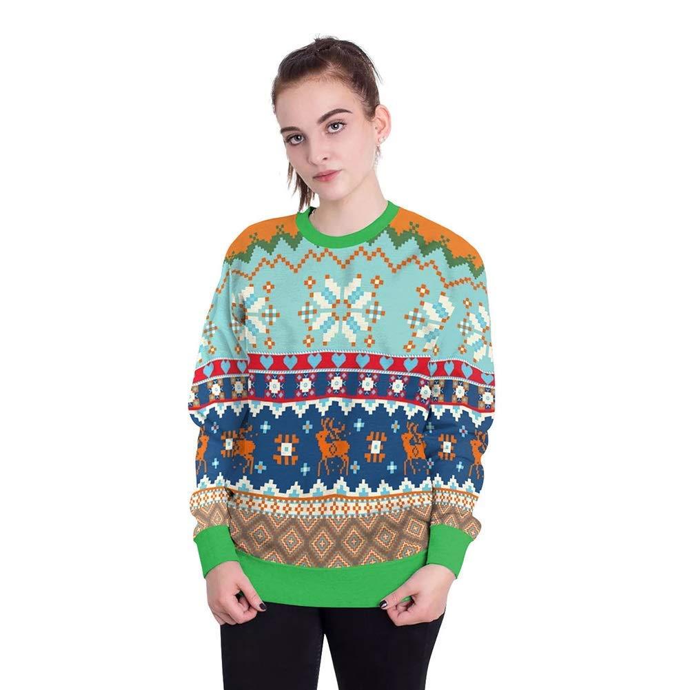 FuweiEncore Damenschuhe New Christmas Festival 3D Digital Print Paar Sweatshirts, Männer übergroßen Rundhals Pullover Tops Weihnachten Karneval Festival (Farbe   19, Größe   L)