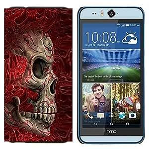 EJOOY---Cubierta de la caja de protección para la piel dura ** HTC Desire Eye M910x ** --Blood Red Huesos cráneo de la muerte del motorista