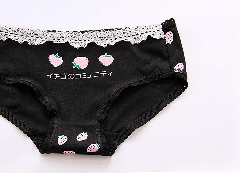 b7073c6c7b04 YOMORIO Cute Lace Strawberry Panties Womens Anime Underwear Soft Low Waist  Cotton Panty Bikini (Black) at Amazon Women's Clothing store: