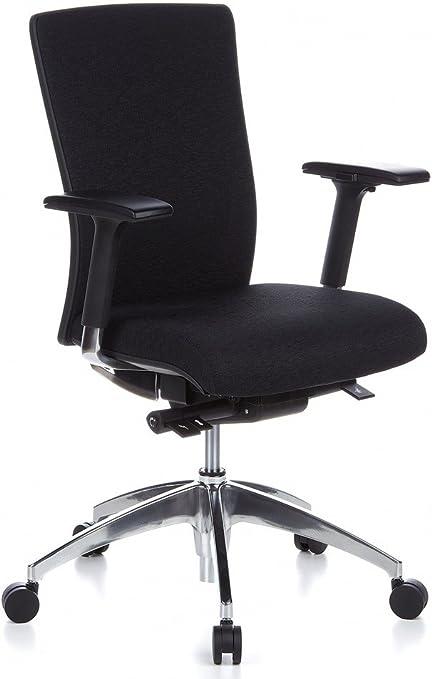 hjh OFFICE 657411 Profi Bürostuhl Astra Base Stoff Schwarz Drehstuhl ergonomisch, mit Lordosenstütze, Armlehne verstellbar