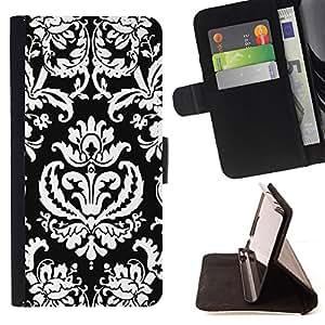 BullDog Case - FOR/Samsung Galaxy S5 Mini, SM-G800 / - / pattern wallpaper art black white royal /- Monedero de cuero de la PU Llevar cubierta de la caja con el ID Credit Card Slots Flip funda de cuer