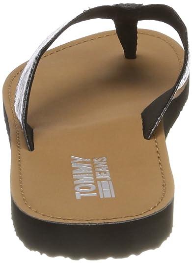 Hilfiger Denim Damen Glitter Beach Sandal Zehentrenner, Silber (Silver 000), 40 EU