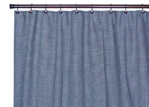 Logan Gingham Check Print Bathroom Shower Curtain, Black ()