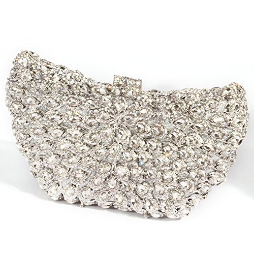 Clutch women Purses Bags Big Crystal Wings Digabi Evening Rhinestone Silver 7tqWSw07nI