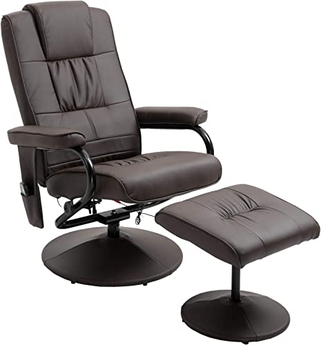 HOMCOM Massaging Faux Leather Recliner Chair and Ottoman Set