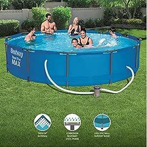 Bestway - Piscina de estructura redonda con bomba de filtro, Steel Pro Max, 39.5 pulgadas de profundidad, 3.7 m: Amazon.es: Jardín