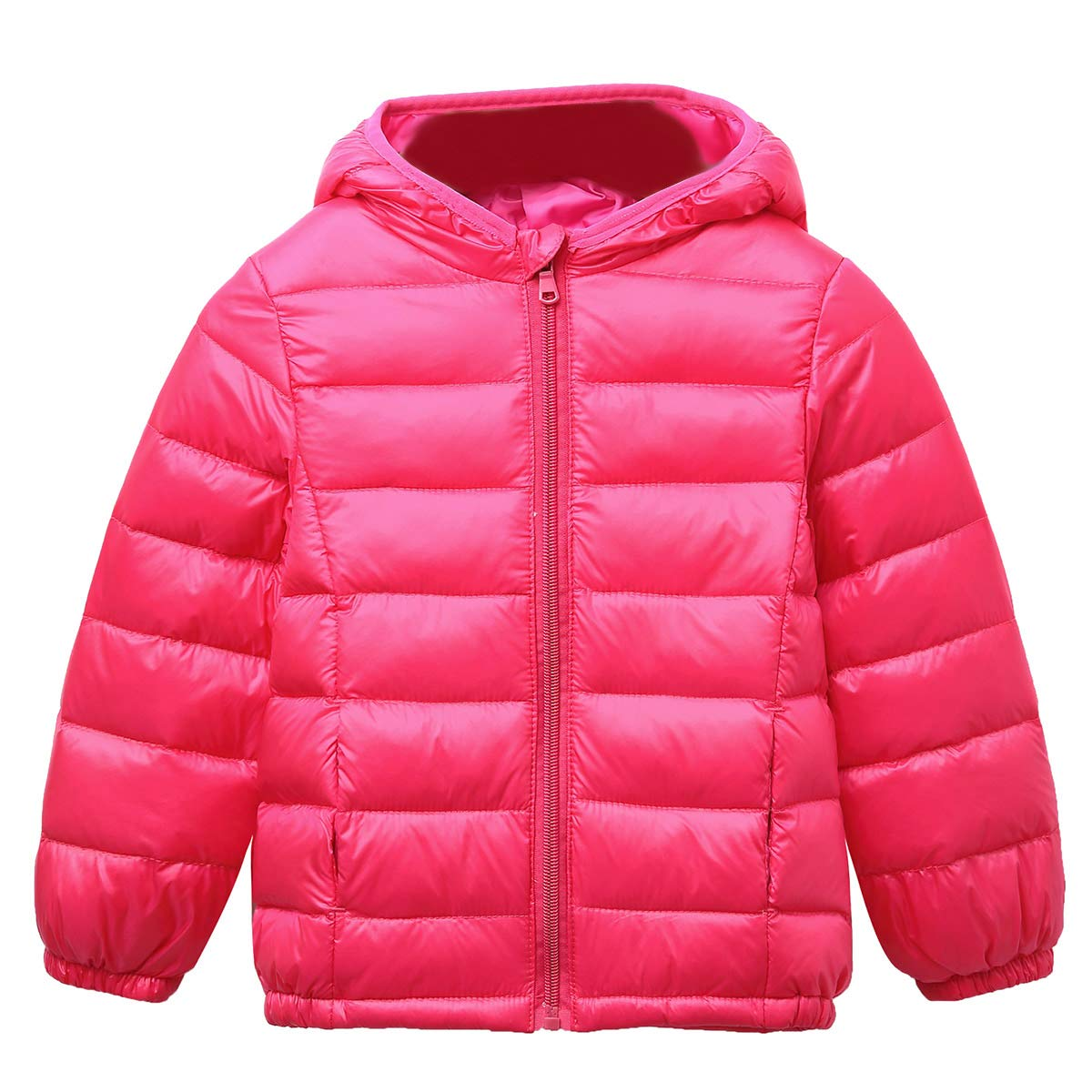 Happy Cherry Kids Baby Girls Boys Lightweight Winter Puffer Coat Down Jacket Outwear with Warm Hood Rose Red Size 130cm by Happy Cherry