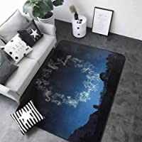 Anti-Skid Area Rug Astrology,Sketchy Zodiacal Sign Dots in Ombre Night Dark Sky in Forest Art Print,Dark Blue and White 36