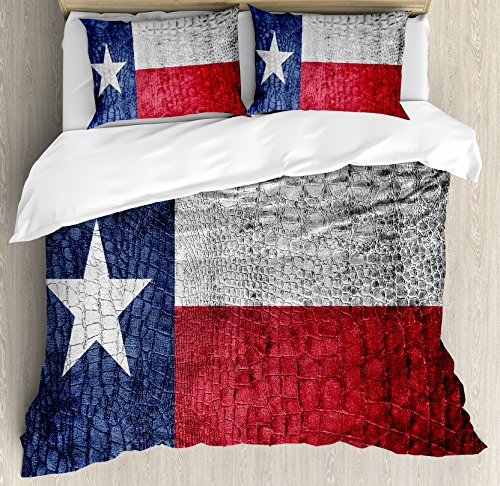 - Western Decor Queen Size Duvet Cover Set by Ambesonne, Texas State Flag Painted on Luxury Crocodile Snake Skin Texture Looking Patriotic Emblem, Decorative 3 Piece Bedding Set with 2 Pillow Shams
