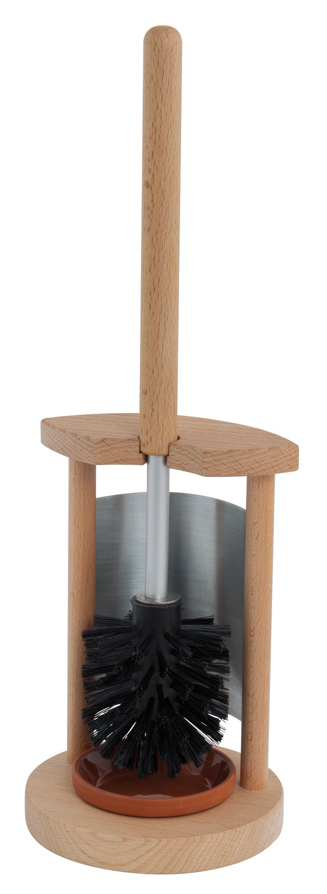 REDECKER Nylon Toilet Brush Stand Made with Oiled Beechwood, 16-7/8-Inches