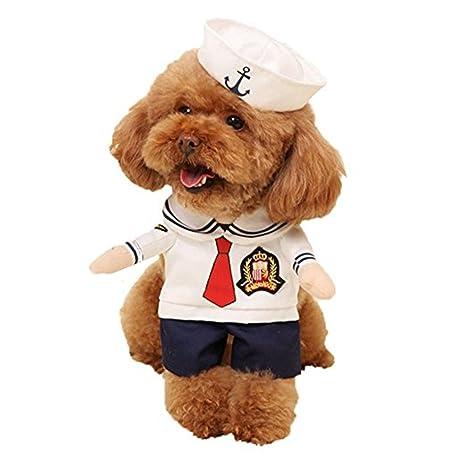 Morbuy Disfraz de Marinero Ropa Traje Uniforme para Mascotas ...