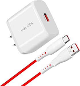 VELOGK 65W Warp Charger [10V/6.5A] for OnePlus 8T/9R/9/9 Pro Charger Replacement, Warp Charge 65 Power Adapter with USB A-to-C Warp Charging Cable (1M/3.3ft)